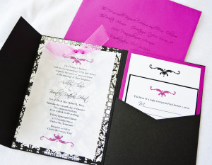 HotPink_Black_White_Brocade_Damask_Pocket_Wedding_Invitation (1)
